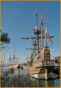 Jamestown_Settlement_three_ships_with_Susan_Constant_in_Foreground
